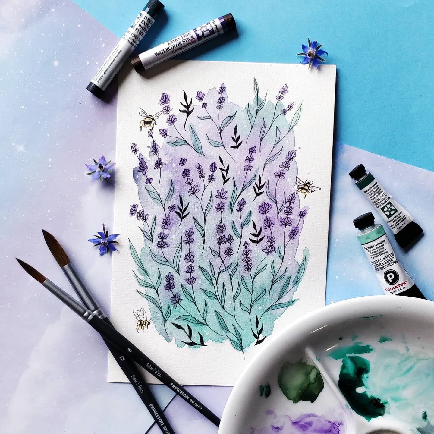 Lavender and bees illustration